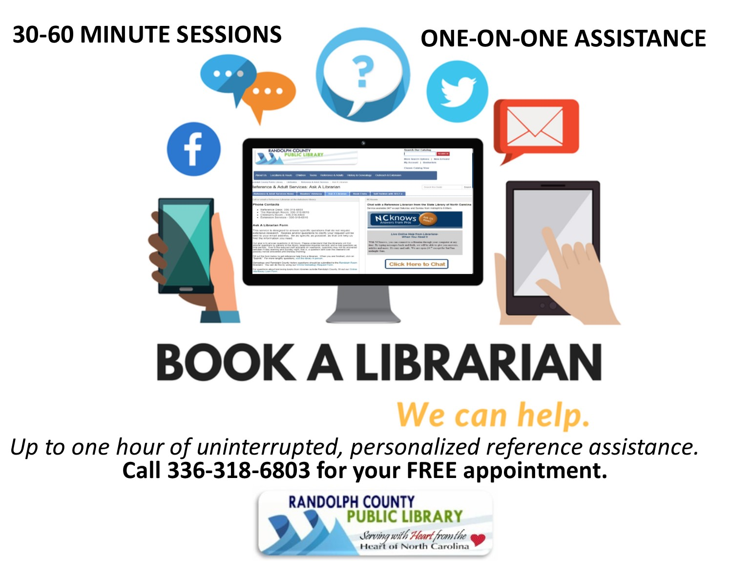 Book a librarian for up to 1 hour of uninterrupted personalized reference assistance at the Asheboro library. FREE!