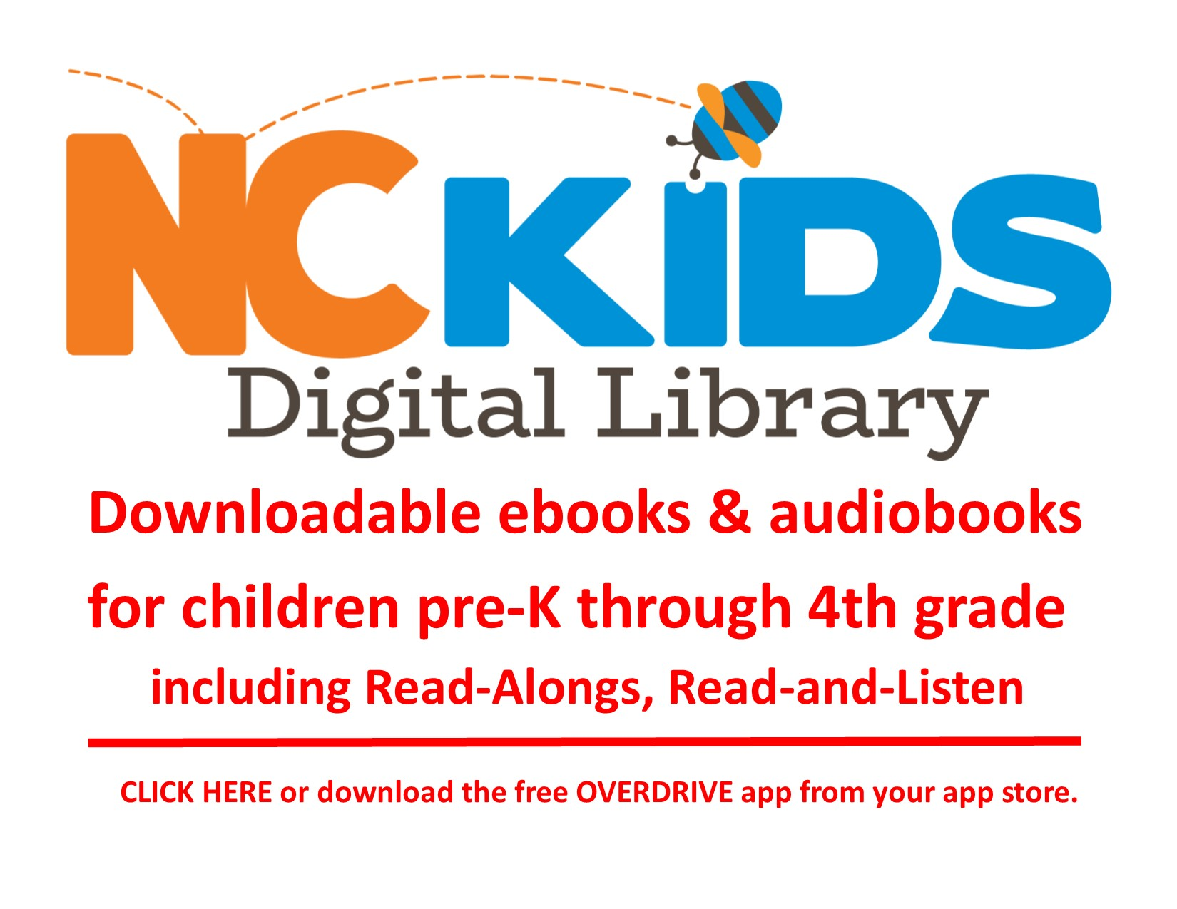 NC Kids Digital Library with downloadable ebooks and audiobooks for pre-K through 4th grade!
