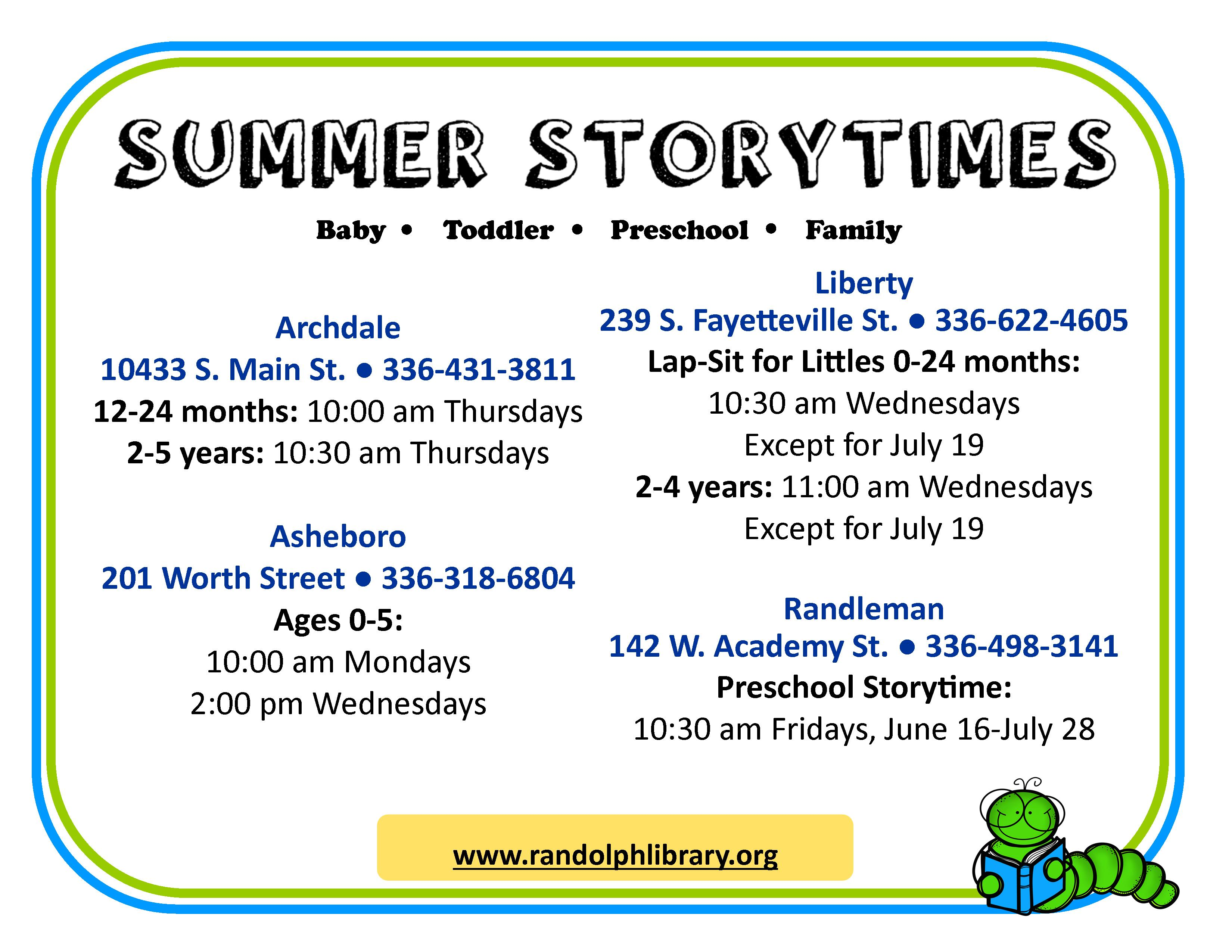 New Storytimes for Kids During the Summer!
