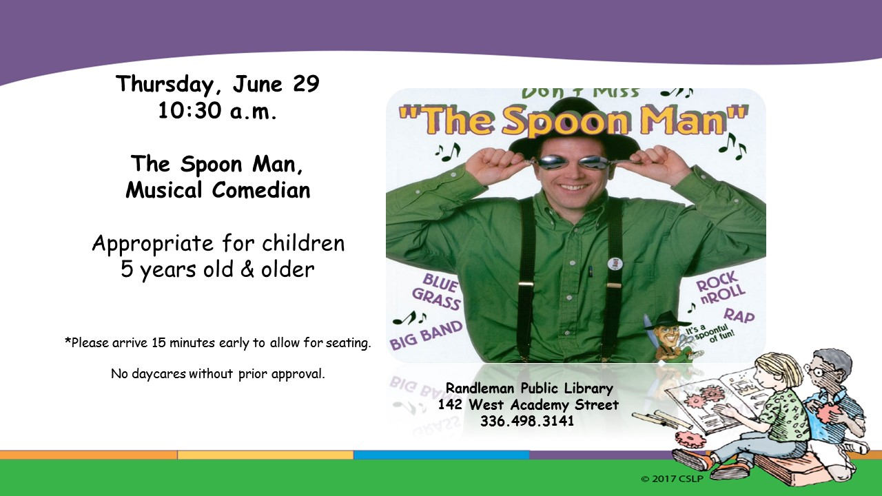Musical Comedian The Spoon Man in Randleman!