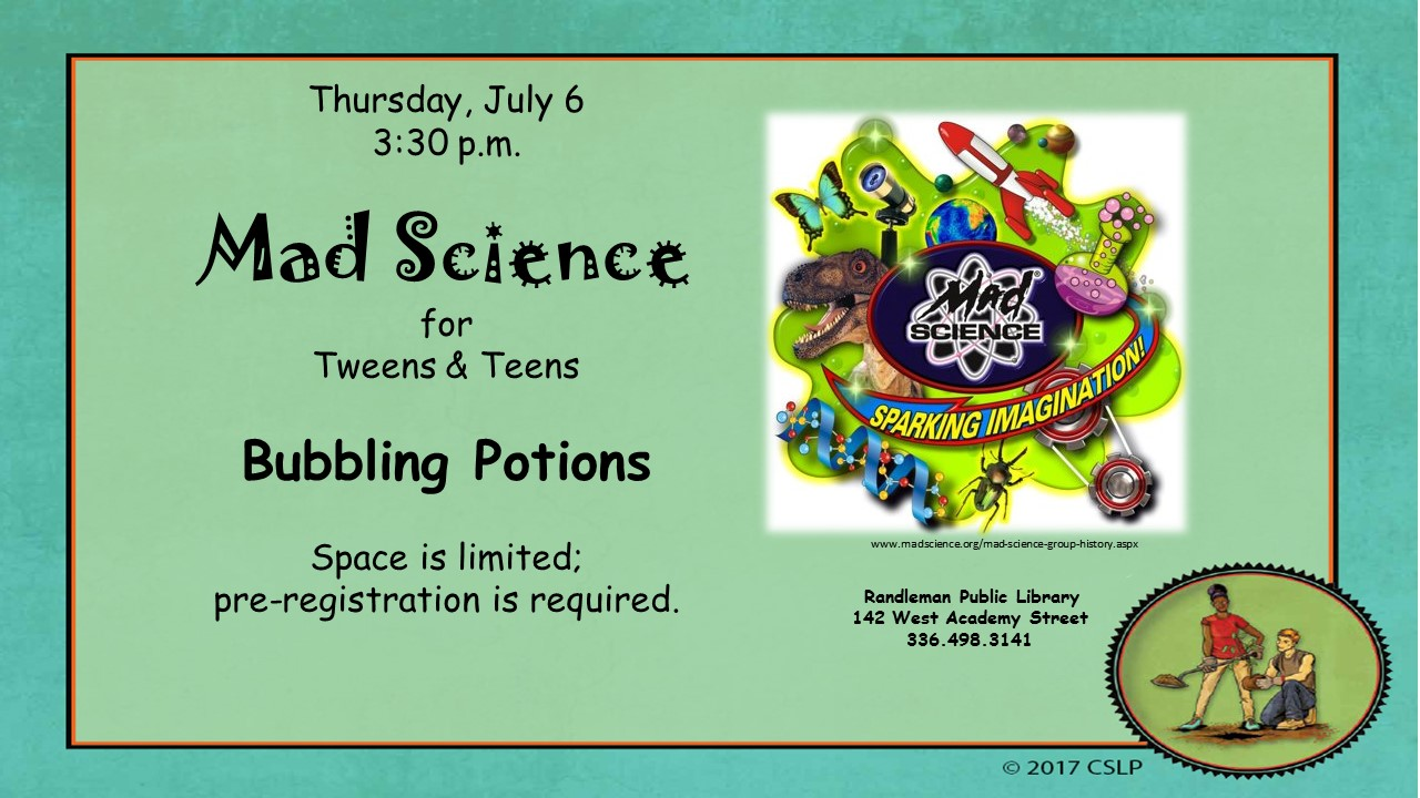 Mad Science Explores Bubbling Potions for Tweens and Teens in Randleman!