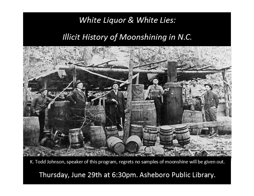 Learn of the illicit history of moonshining in NC!