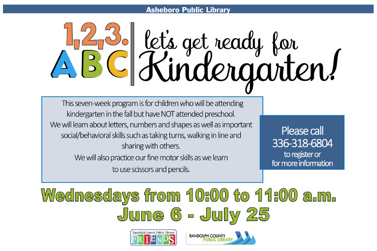 Prepare your kids for Kindergarten at the Asheboro Public Library!