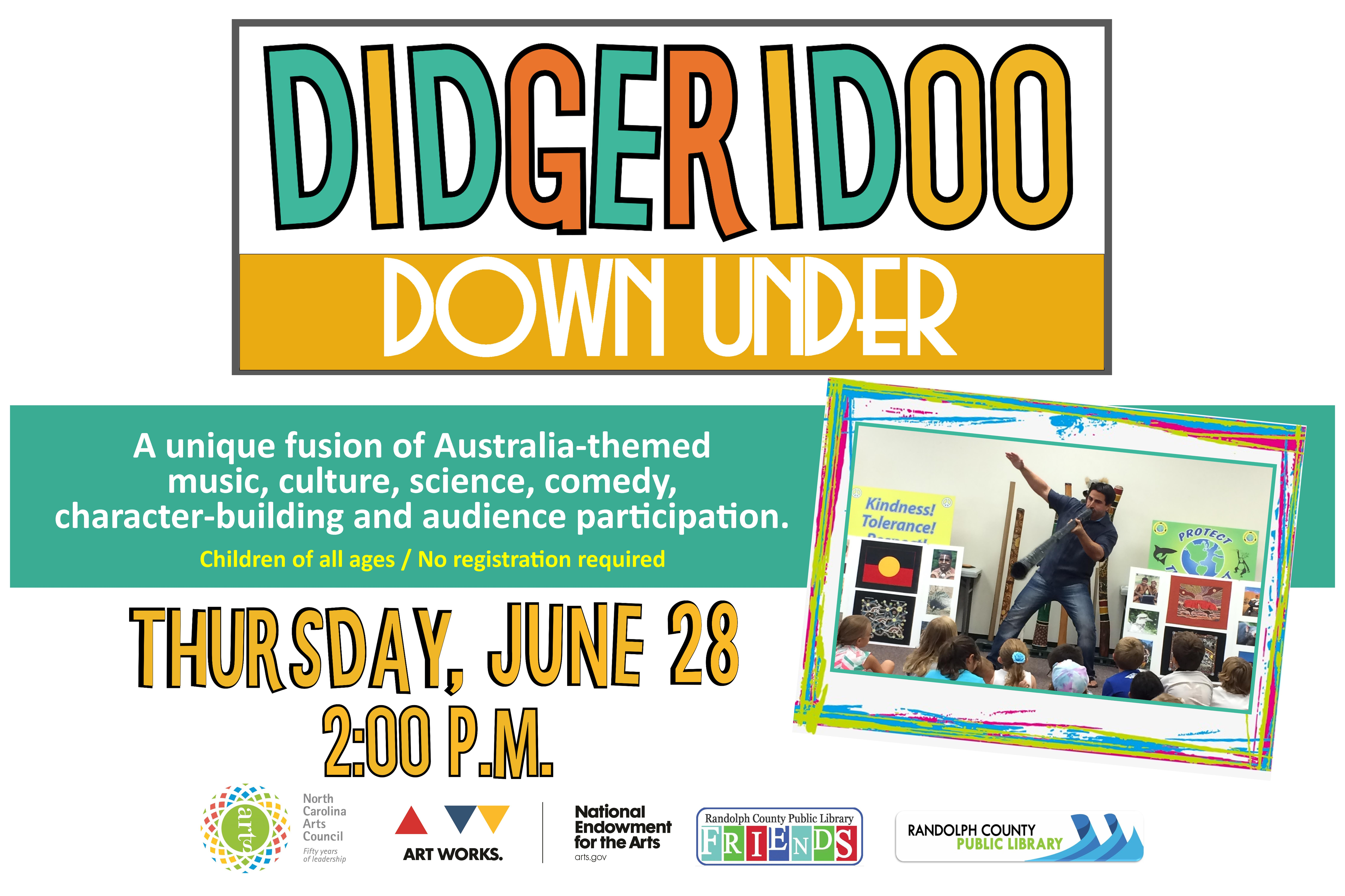 Come enjoy a musical journey to Australia at the Asheboro Library on June 28th!