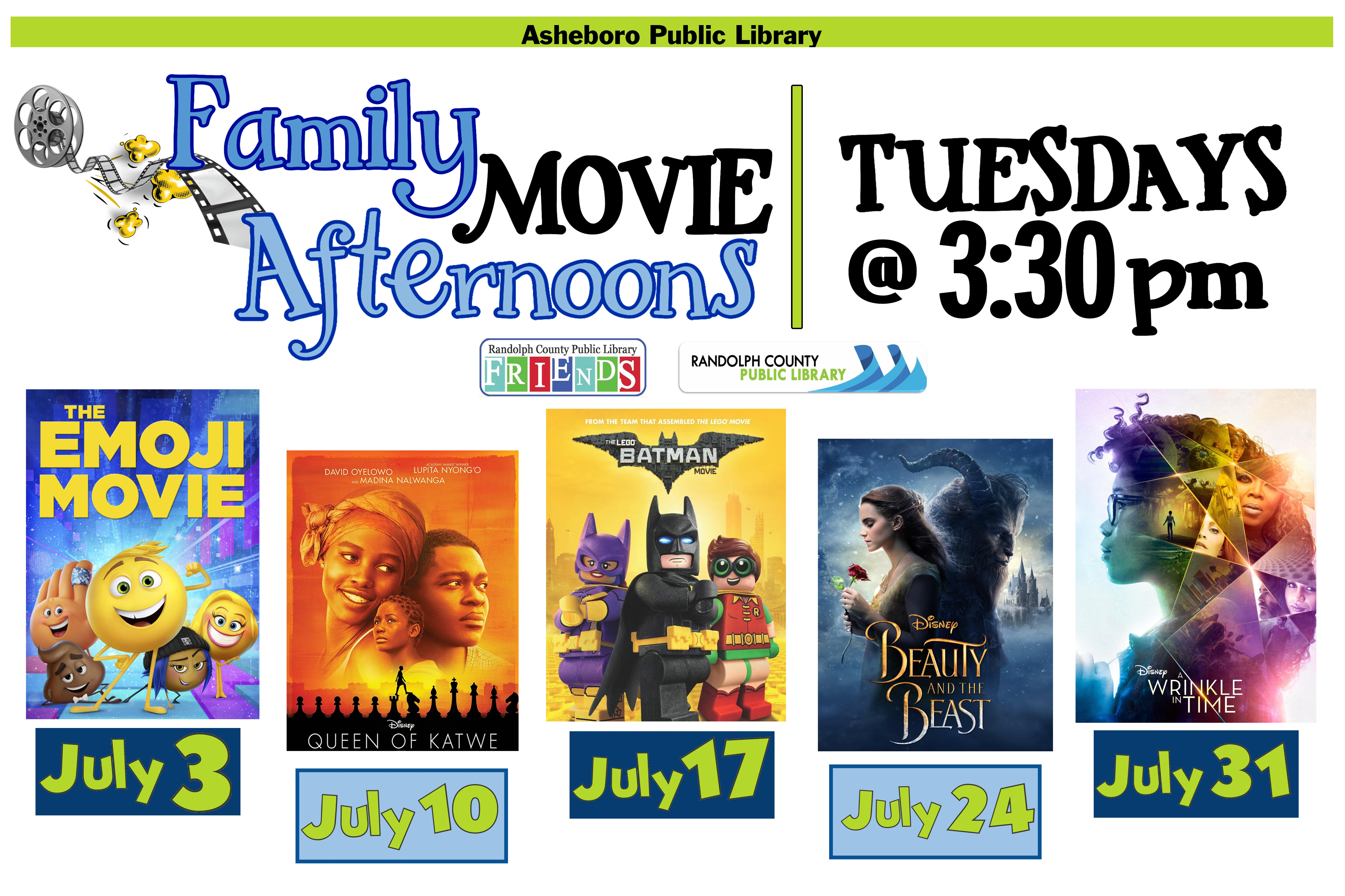 Come enjoy FREE movies in July at the Asheboro Library!