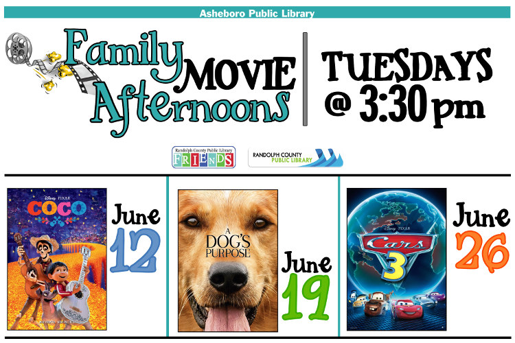 Come enjoy FREE movies in June at Asheboro Library!