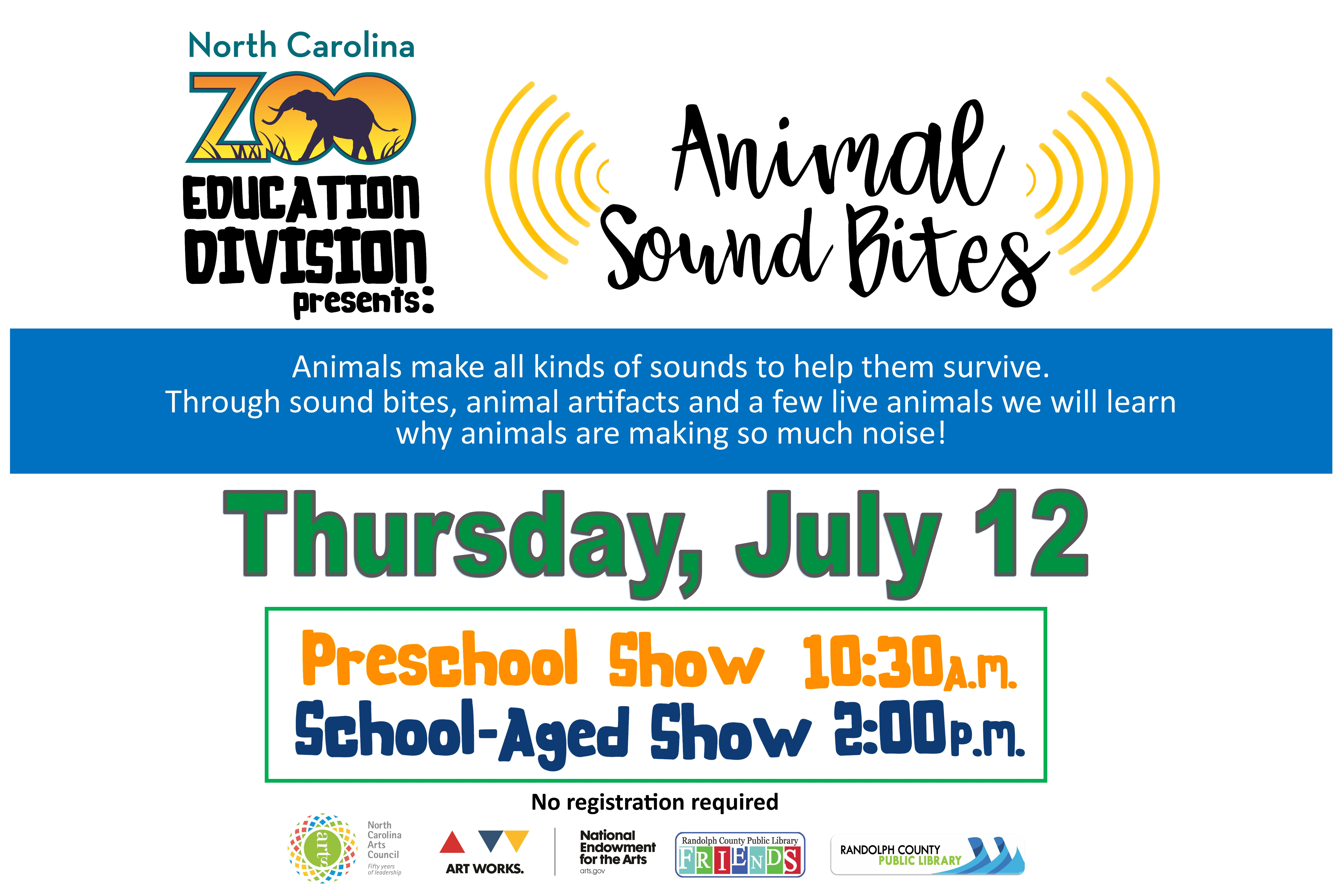 Learn why animals are making so much noise at 10:30am for preschool and 2pm for school aged children at the Asheboro Library on July 10th!