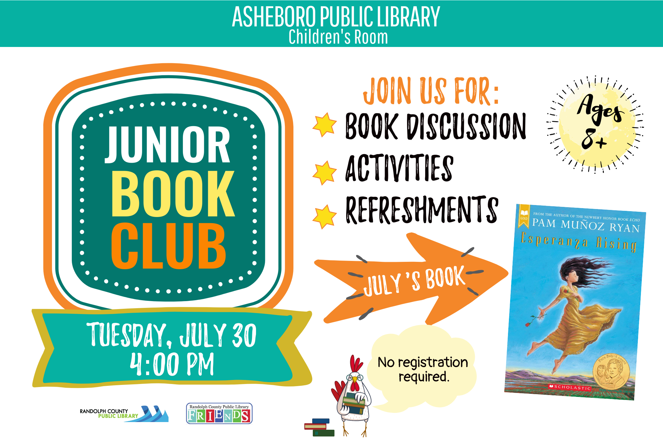 Activities at the Asheboro Public Library in July, 2019! FREE